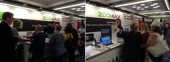 CSUN 2015 visitors using Zoomax low vision products video magnifiers