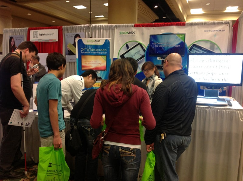 Low vision aids developer Zoomax booth at CSUN