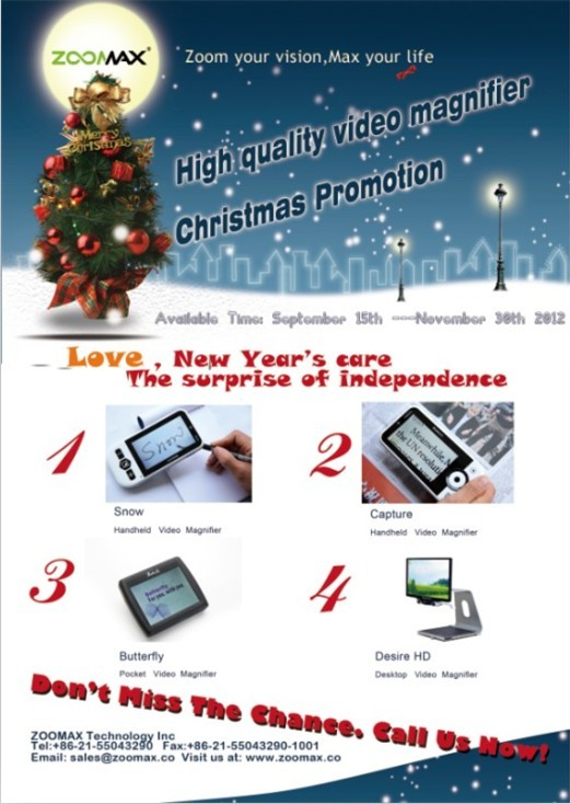 Zoomax low vision aids christmas promotion