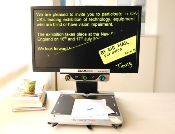 Zoomax CCTV desktop video magnifier Aurora HD yellow on black