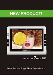 Handheld video magnifier low vision aid Snow HD Plus brochure cover