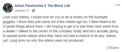 Facebook Message About Acesight