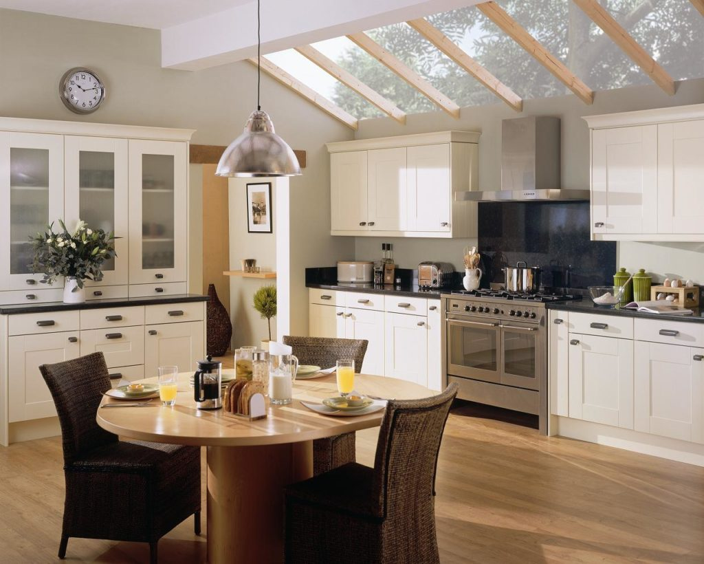 Spacious Kitchen Design White Cabinet Interior