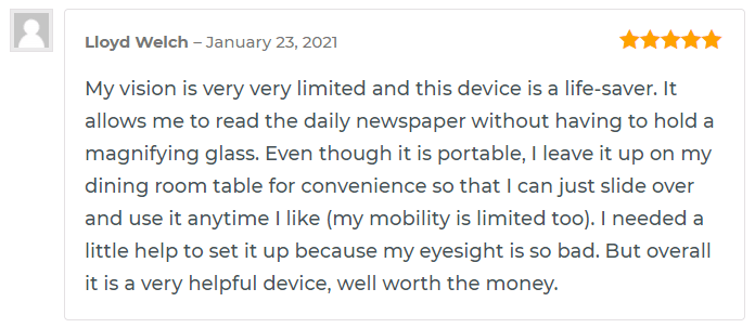 review of lloyd welch on snow 12 portable video magnifier for low vision